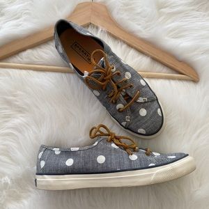 {Sperry Top-Sider} Denim Polka Dot Lace Up Shoes